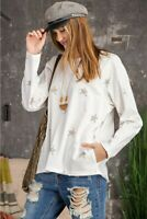Easel Star Print Long Sleeve Top with Pockets