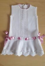 New Spanish Designer BONBON BABY White Pink Knitted Dress__3 Months Traditional