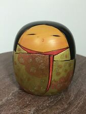 Vintage Kokeshi Japanese Wood Doll very cute girl Green w Pink Glitter