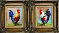 Pair of Rooster Portrait, Antique Gold Framed Oil Painting On Canvas, Signed