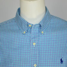 Mint RALPH LAUREN Slim Fit Gingham Check Cotton Casual Shirt Sz XL Aqua Blue