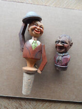 2 Vintage ANRI Wood Carved Bottle Stoppers-Man w/ Glasses-Hat Tipper-Need Repair