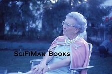 KODACHROME 35mm Slide Old Woman Glasses Pearl Necklace Fashion Lawn Chair 1964!
