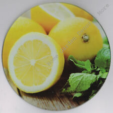 Round Glass Cutting Board Kitchen Decor Art Counter Top Saver Fruit Yellow
