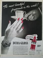 1940 Dura-gloss red fingernails on cup nail polish by Lorr vintage manicure ad