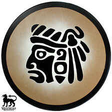 Round Wooden Mayan Warrior Face Shield -- sca/larp/aztec/inca/mexico/wood/armor