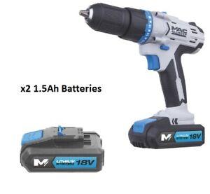 Mac Allister 18V 2x Batteries 1.5Ah Li-Ion Cordless Combi Drill + Hammer + Bag