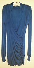 SAVEE COUTURE ROYAL BLUE DRAPERY WRAP RUCHED DRESS - Sz M, Orig $187, Pre-owned