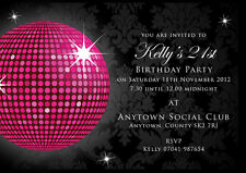 Birthday invitations 18th 21st 30th Black glitter ball with envelopes