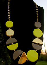 Kate Spade New York MOD MODERN DISC LONG ABSTRACT Gold/Yellow statement necklace