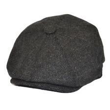 MENS GREY HERRINGBONE NEWSBOY CAP 8 PANEL GATSBY PEAKY BLINDER  FLAT CAP