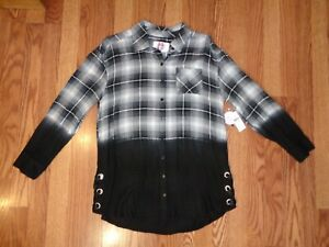 NEW JUSTICE PLAID FLANNEL OMBRE BUTTON SHIRT TUNIC LACE UP SIDES VISCOSE 18/20