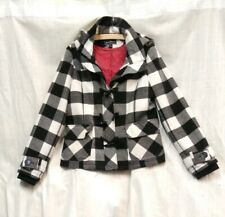 Artifacts Plaid Peacoat Fang Toggle Jacket Removable Hood Size Small US Womens