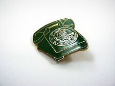 Vintage Collectible Pin: Rotary Telephone Green Enamel Screwback Design