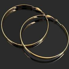 free shipping womens large hoop earrings korean jewelry yellow gold filled