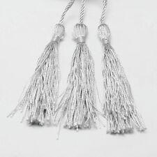 10 QUASTEN Tassel Nylon Anhänger Silber Grau 12cm für Schmuckherstellung DEK31