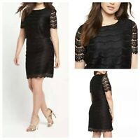 SO FABULOUS Ladies Black Dress Size 20 Lacy Short Sleeve Zip Tiered Lined Party