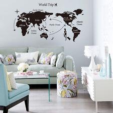 Black Map of the World Wall Sticker Decal Vinyl Art Sticker Home Decor Large New