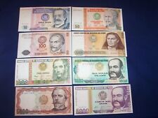 Set of 8 Different Bank Notes from Peru Issued 1980s Uncirculated