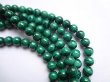 8mm Round Natural Green Malachite Semi Precious Gemstone Beads - 12 Beads