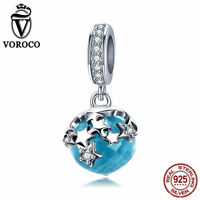VOROCO Exclusive 925 Sterling Silver Blue Faceted Glasses Dangle Charms AAA CZ
