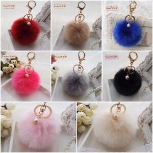 Very Soft Fluffy Rabbit Fur Ball 9 CM Key Chain Pompom Handbag Car Key Ring