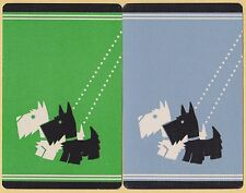 2 Single VINTAGE Swap/Playing Cards SCOTTIE SCOTTY DOGS ON LEADS Green/GreyBlue