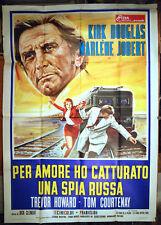 manifesto 4F film CATCH ME A SPY - PER AMORE... Kirk Douglas Marlene Jobert 1972