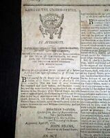UNITED STATES DEPARTMENT OF THE NAVY John Adams Formed Creation 1798 Newspaper