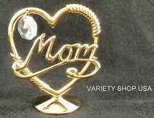 "Austrian Crystal 24K Gold Plated ""MOM"" Figurine"