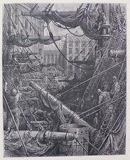 Doré-Londres; 'dentro de los muelles's, antiguo original grabado en madera, C.1870