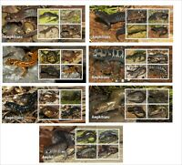 AMPHIBIANS REPTILES  7 SOUVENIR SHEETS MNH UNPERFORATED SALAMANDER