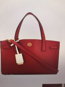 TORY BURCH Walker Small Leather Satchel Bright Carnellia