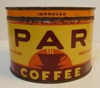 Rare Vintage 1940s PAR COFFEE GRAPHIC KEYWIND COFFEE TIN 1 POUND HOUSTON TEXAS