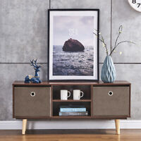 Modern TV Stand Center Console Table Cabinet Storage Shelves storage New Walnut