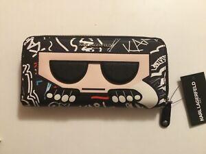 Karl Lagerfeld Paris Leather Zip Around Wallet -multi color