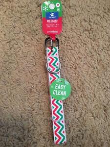 NWT Top Paw Dog Collar MEDIUM Christmas Holiday Chevron EASY CLEAN