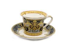 12 Pcs Greek Key Versailles Design  Bone China Tea Cup/Saucer - Blk/Grey/Gold