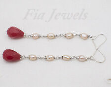 Orecchini donna perle naturali, gocce rubino argento Gioielli con pietre dure