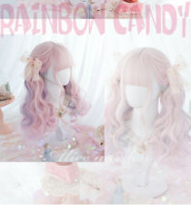 Japan Lolita Harajuku Kawaii Rainbow Candy Pink Purple Gradient Hair Curly Wig