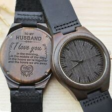 Engraved Wooden Men Groomsmen Watch for Husband Son Natural Ebony Customized