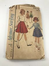 Vintage Advance 3378 Girls Size 14 Coachman Front Wrap Skirt In 2 Lengths