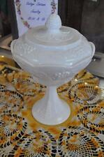 Vintage Indiana Colony Harvest Grape Panel Pattern Pedestal Candy Dish w/Lid