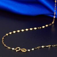 New Fine Solid Au750 18k Yellow Gold Women Lip Link Chain Necklace 18inch