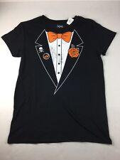 Halloween Costume Tuxedo T Shirt Black Short Sleeve Boo Skull Juniors Size Small