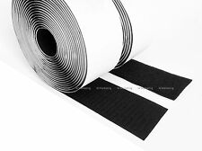 """10 Yards 2"""" Black Self Adhesive Hook & Loop Tape Fastener BAV50"""