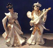 """Vintage Lefton Oriental / Asian Man & Woman Figurines Gold & White - 11"""" - 1956"""
