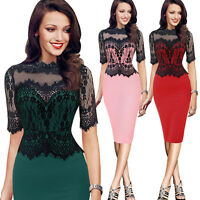 Womens Lace Evening Formal Party Dress Ladies Midi Bodycon Pencil Business Dress