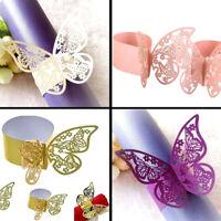 10/50x Butterfly Laser Hollow Paper Napkin Rings Serviette Holders Wedding Decor