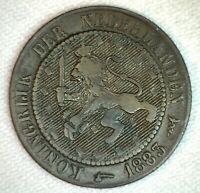 1883 Netherlands 2 1/2 Cent Coin Bronze Fine